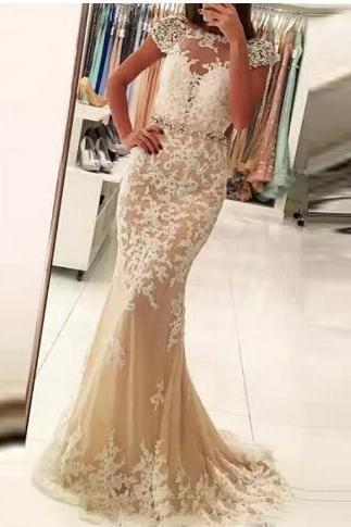 Vestido de festa Long Lace Mermaid Prom Dresses 2018 New Arrival Short Sleeve Champagne Crystal Evening Party Dress