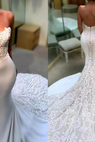 Sexy Sweetheart Lace Wedding Dresses Cathedral Train Mermaid Backless Weddings Bridal Gowns Appliques Vestido de novia Beach Wedding Dress