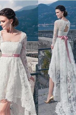 Vintage Full Lace High Low Wedding Dresses 2018 With Long Sleeves Sexy Backless Sash Front Short Back Long Cheap Summer Beach Bridal Gowns