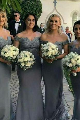 2018 Cheap Bridesmaid Dresses Off Shoulder Arabic Mermaid Lace Applique Long Button Back Dubai Maid Of Honor Wedding Party Prom Gowns