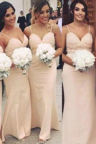 Pale Pink 2018 Bridesmaid Dresses For Summer Country Weddings 2018 New Sexy Spaghetti Straps Beaded Sequins Maid of Honor Gowns