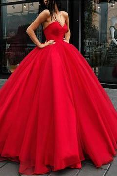 Strapless Bodice Corset Red Tulle Ball Gowns Wedding Dresses Sleeveless