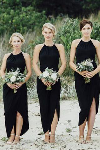 Simple Black Side Slit Short Bridesmaid Dresses, Cheap Unique Sequin Long Bridesmaid Gown