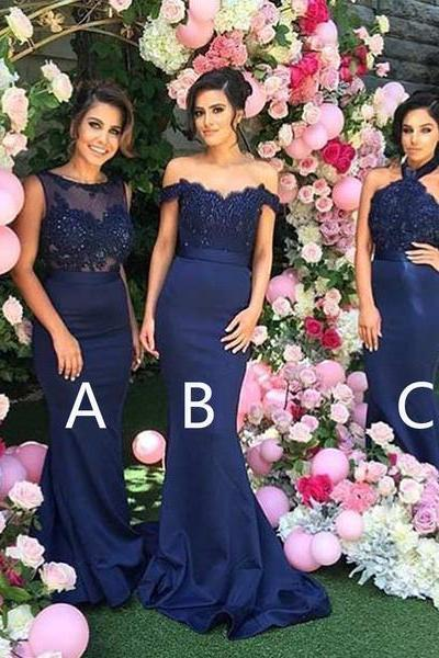 2018 Mismatched Sexy Different Mermaid Royal Blue Long Affordable Bridesmaid Dresses