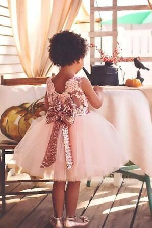 New Arrival Cute Pink White Flower Girls' Dresses Lace Appliques Tulle Puffy Little Girls Ball Gowns For Wedding Party