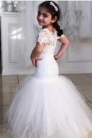 Lace Mermaid Flower Girl Dresses New Coming 2018 Floor Length Fashion Wedding Pageant Gowns Sheer Short Sleeve Tulle Modern Lovely