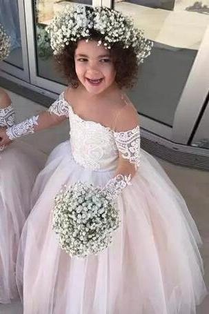 New Pink Princess Ball Gown Flower Girls Dresses Sheer Neck Tulle Long Sleeves Appliques Lace Toddler Wedding Party Dress Birthday