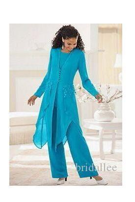 Elegant Hunter Chiffon With Long Sleeves 3pc Jewel Neck Ruffles Mother Of the Bride Pant Suits Mother Dress