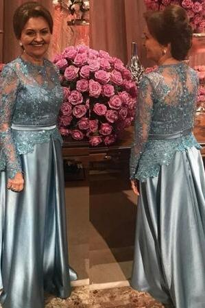 Mother's Dresses To Wedding Guest Party Jewel Lace Beads Satin Illusion Long Sleeve Plus Size Evening Formal Gown