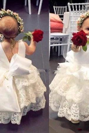 Lace White Flower Girls Dresses A Line Back With Bow Princess Jewel Neck First Communion Dresses Girls Pageant Gown Custom Made