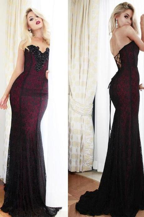 Sweetheart Beaded Long Prom Dress, Mermaid Black Lace Evening Dress