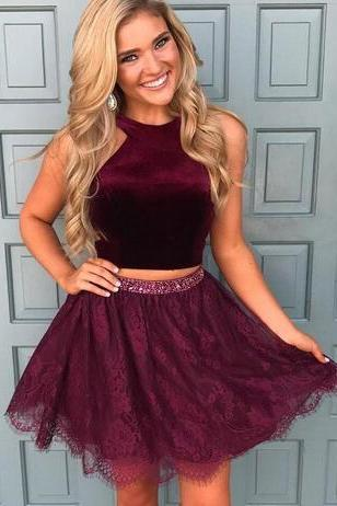 A-Line Halter Short / Mini Lace Homecoming Prom Dress Two Pieces cocktail dress