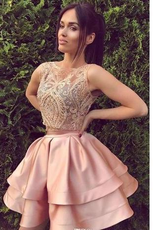 Short Blush Pink Two Piece Homecoming Dresses A Line Sleeveless Backless Mini Cocktail Dress Prom Party Gowns Custom Lace