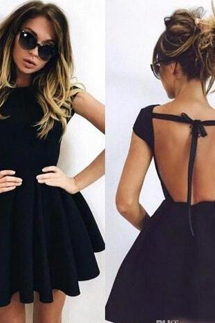 Sexy Open Back Little Black Homecoming Dresses 2018 Cap Sleeve Mini Party Dress Cheap Short Prom Cocktail Gowns Evening Formal Wear