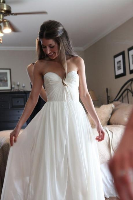 Simple Wedding Dresses, Chiffon Long Wedding Dress, Sweetheart Ruched Chiffon Bridal Dress