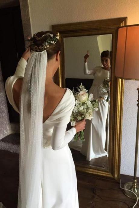 Sexy Simple Wedding Dresses, Satin Long Wedding Dress, Boat Neck with Open Back Long Sleeves Bridal Dress