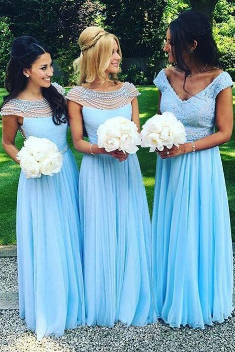 Charming Bateau Floor-Length Cap Sleeves Open Back Blue Bridesmaid Dress with Pearl