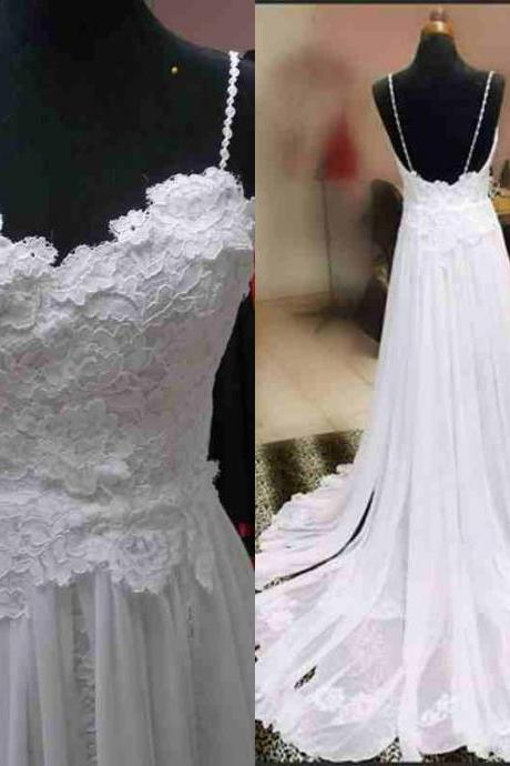 2016 Real Image Beach Wedding Dresses Vestidos de Novia A-line White Spaghetti Straps Backless Lace Wedding Dress Bridal Gowns
