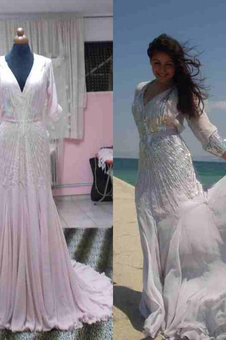 2016 Real Image Luxury Bling Sparkle Wedding Dresses Vestidos de Novia Mermaid V-Neck Short Sleeves Backless Beads Wedding Dress Bridal Gowns