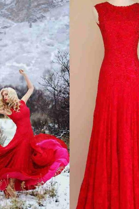 2016 Real Iamge Prom Dresses Red Mermaid Crew Backless Lace Long Formal Evening Party Gowns Vestidos