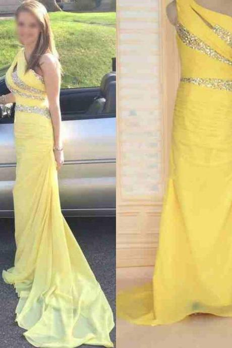 2016 Real Image Prom Dress Mermaid Yellow One Shoulder Beads Rhinestones Backless Chiffon Long Formal Evening Party Gowns Vestidos