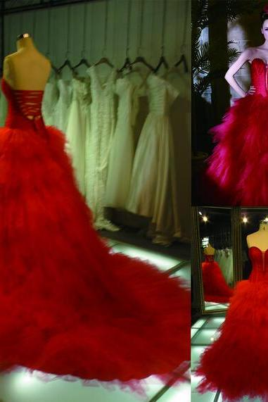 2016 Real Image Red Wedding Dresses Vestidos de Novia Mermaid Sweetheart Ruffle Tiered Tulle Lace Up Wedding Dress Bridal Gowns