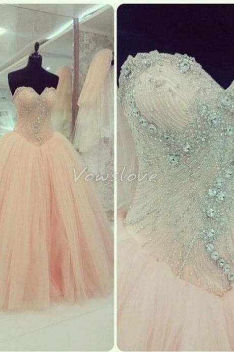 2015 Real Iamge Picture Luxury Bling Sparkle Evening Dresses Ball Gown Sweetheart Lace Up Crystals Beads Tulle Long Formal Prom Party Gowns