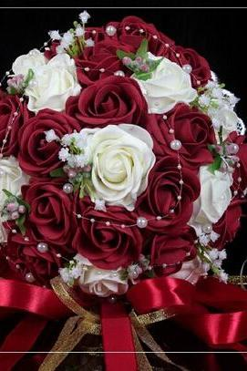 2015 Cheap Wedding Bouquet Pink/Red/White/Burgundy Bridal Bridesmaid Flower Artificial Flower Rose Bouquet Bride Buque de noiva