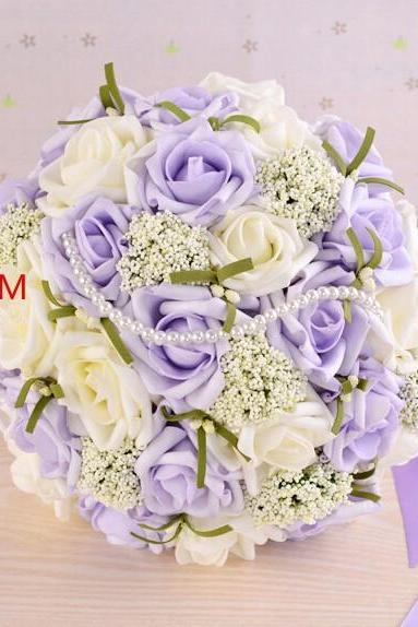 2016 Beautiful Purple Wedding Bouquet Bridal Bridesmaid Flower Wedding Bouquet Artificial Flower Rose Bouquet