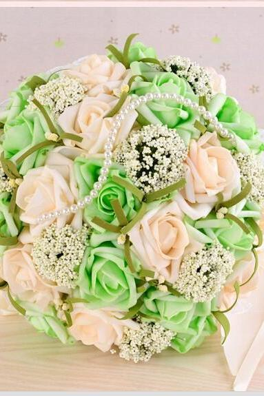 2016 Beautiful Green Wedding Bouquet Bridal Bridesmaid Flower Wedding Bouquet Artificial Flower Rose Bouquet
