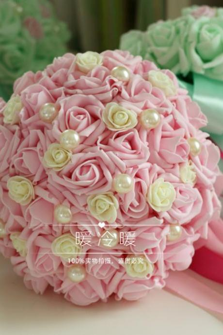 2016 Cheap Wedding Bouquet Bridal Bridesmaid Light green/pink/light brown Colorful Artificial Flower Rose Bride Bouquets buque de noiva