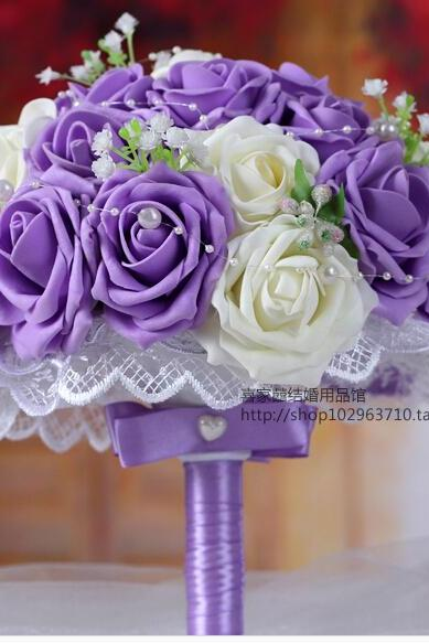 2016 Cheap New Arrival Romantic Ivory&Purple Bridal Bridesmaid Handmade Artificial Rose Wedding/Bridesmaid Bouquets Accessory