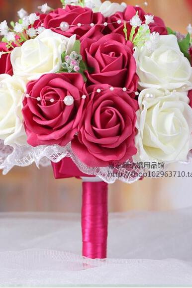 2016 Cheap New Arrival Romantic Ivory&Red Bridal Bridesmaid Handmade Artificial Rose Wedding/Bridesmaid Bouquets Accessory