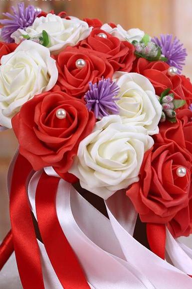 2016 Cheap Romantic Red&Pink Wine Bridal Bridesmaid Flowers Handmade Artificial Rose Wedding/Bridesmaid Bouquets Bridal Accessory
