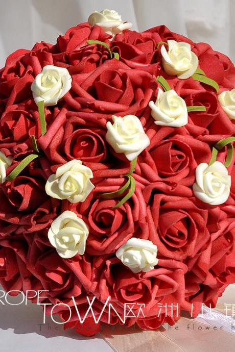 2016 Cheap Romantic High Quality Dark Red Colorful Bridal Bridesmaid Flowers Handmade Artificial Rose Wedding/Bridesmaid Bouquets Bridal Accessory