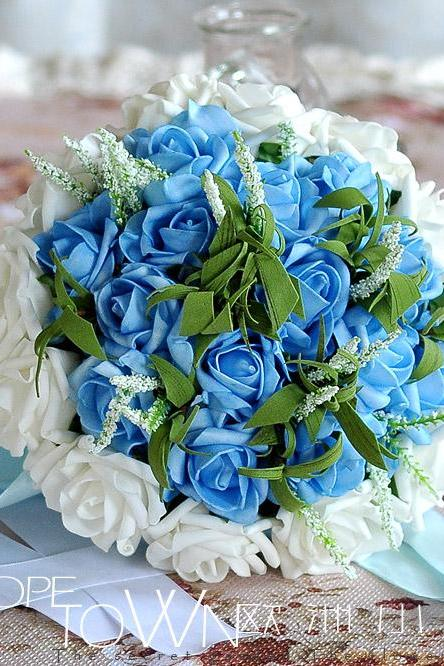 2016 Cheap Romantic High Quality Dark Blue&White Colorful Bridal Bridesmaid Flowers Handmade Artificial Rose Wedding/Bridesmaid Bouquets Bridal Accessory