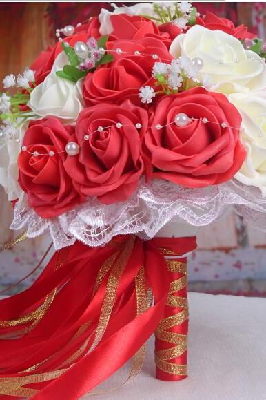 2016 30 Pieces Flowers Cheap Romantic Ivory&Red Bridal Bridesmaid Handmade Artificial Rose Wedding/Bridesmaid Bouquets Accessory