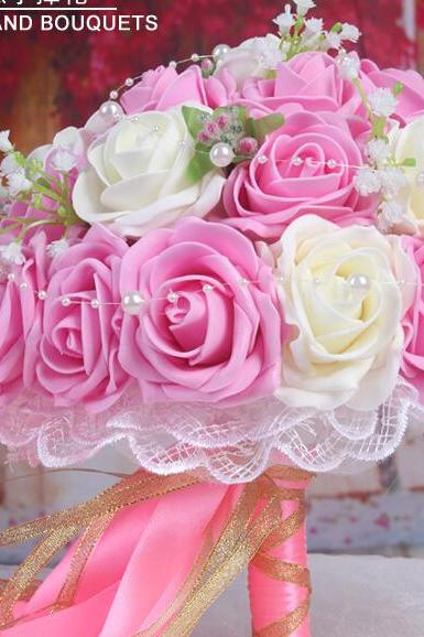 2016 30 Pieces Flowers Cheap Romantic Ivory&Light Pink Bridal Bridesmaid Handmade Artificial Rose Wedding/Bridesmaid Bouquets Accessory