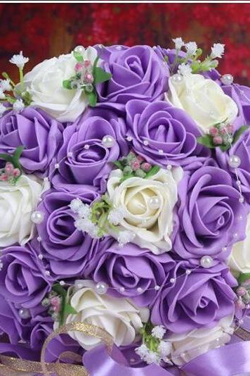 2016 30 Pieces Flowers Cheap Romantic Purple Bridal Bridesmaid Handmade Artificial Rose Wedding/Bridesmaid Bouquets Accessory