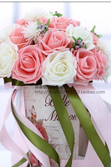 2016 30 Pieces Flowers Cheap Romantic White&Pink Bridal Bridesmaid Handmade Artificial Rose Wedding/Bridesmaid Bouquets
