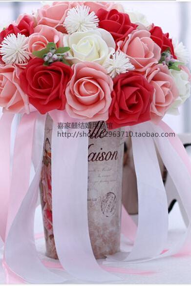 2016 30 Pieces Flowers Cheap Romantic White&Pink&Red Bridal Bridesmaid Handmade Artificial Rose Wedding/Bridesmaid Bouquets
