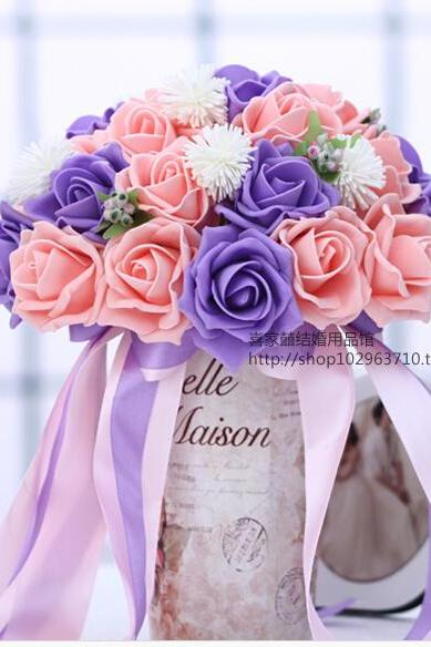 2016 30 Pieces Flowers Cheap Romantic Pink&Purple Bridal Bridesmaid Handmade Artificial Rose Wedding/Bridesmaid Bouquets