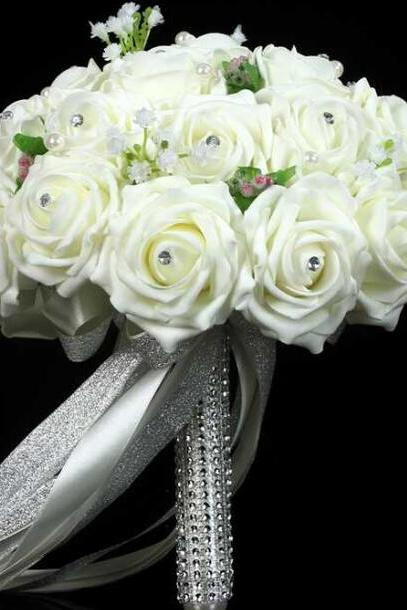 2016 New Arrival Flowers Cheap Romantic White Bridal Bridesmaid Handmade Artificial Rose Wedding/Bridesmaid Bouquets