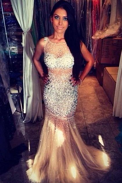 2016 Prom Dresses Cheap Sexy Mermaid Luxury Bling Sparkle Sheer Backless Long Formal Evening Party Gowns robes de bal Ballkleid