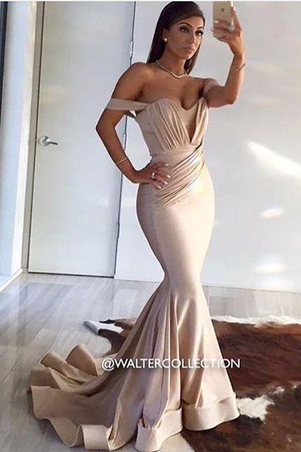 2016 Sexy Cheap Evening Dresses New Arrival Elegant Mermaid Blush Off Shoulder Satin Long Formal Prom Party Gown robes de soiree