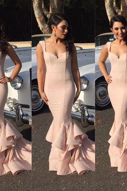 2016 Evening Dresses New Arrival Cheap Sexy Mermaid Blush Sweetheart Cap Sleeve Formal Long Prom Party Gowns Gowns Abendkleider