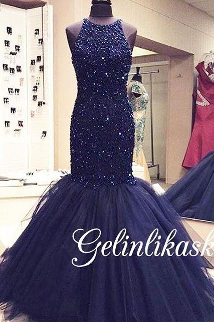 2016 Evening Dresses New Arrival Cheap Elegant Mermaid Dark Navy Beads Tulle Formal Long Prom Party Dress Gown Abendkleider