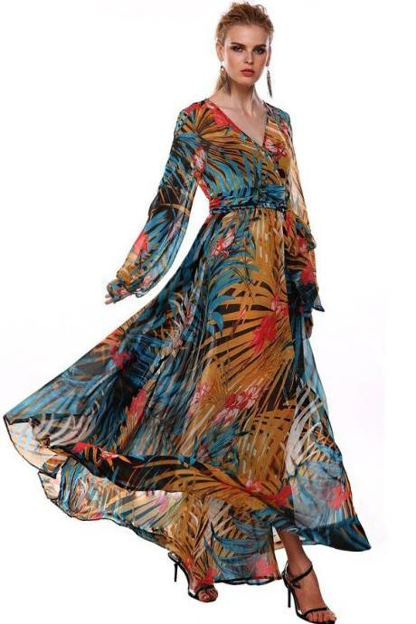 2016 Sexy Cheap Party Dress V-neck Print Long Sleeves Prom Evening Dresses Women Gowns Vestidos