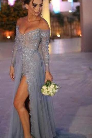 Prom Dresses New Arrival Sexy Cheap A-line Turquoise V-neck Off Shoulder Grey Side Slit Lace Prom Dress Long Formal Evening Dress Party Prom Gowns
