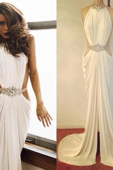 Hot Sale Trumpet/Mermaid High Neck Evening Dress Beaded Rhinestone White Prom Dresses Ruffles Sexy Long Women Evening Gowns